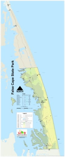 Visitor Map of False Cape State Park (SP) in Virginia. Published by Virginia State Parks.