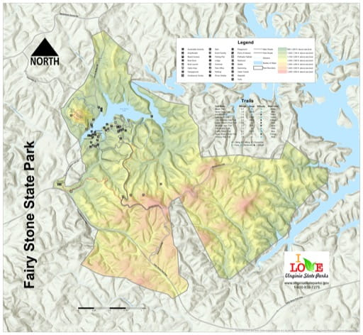 Visitor Map of Fairy Stone State Park (SP) in Virginia. Published by Virginia State Parks.