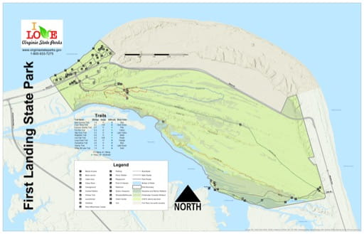 Visitor Map of First Landing State Park (SP) in Virginia. Published by Virginia State Parks.