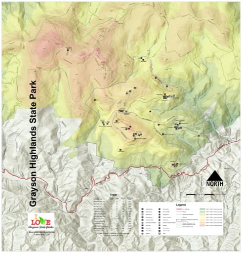 Visitor Map of Grayson Highlands State Park (SP) in Virginia. Published by Virginia State Parks.