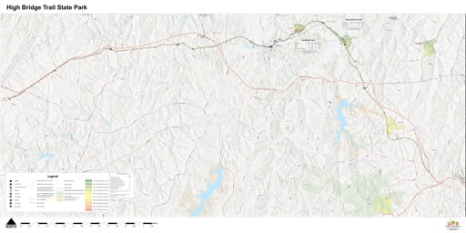 Visitor Map of High Bridge Trail State Park (SP) in Virginia. Published by Virginia State Parks.