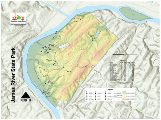 Visitor Map of James River State Park (SP) in Virginia. Published by Virginia State Parks.
