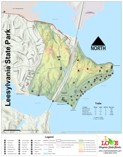 Visitor Map of Leesylvania State Park (SP) in Virginia. Published by Virginia State Parks.