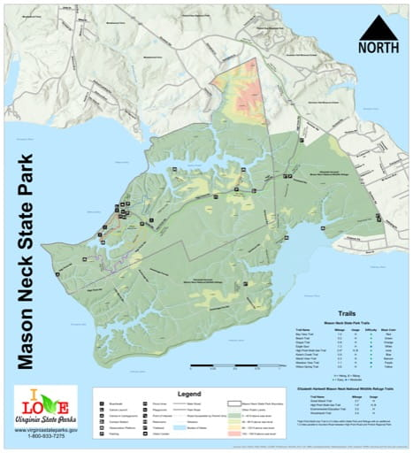 Visitor Map of Mason Neck State Park (SP) in Virginia. Published by Virginia State Parks.