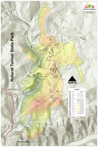 Visitor Map of Natural Tunnel State Park (SP) in Virginia. Published by Virginia State Parks.