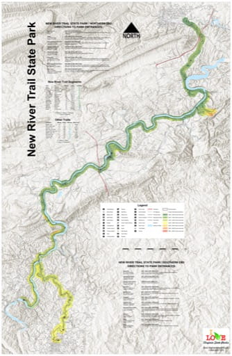 Visitor Map of New River Trail State Park (SP) in Virginia. Published by Virginia State Parks.