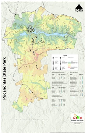 Visitor Map of Pocahontas State Park (SP) in Virginia. Published by Virginia State Parks.