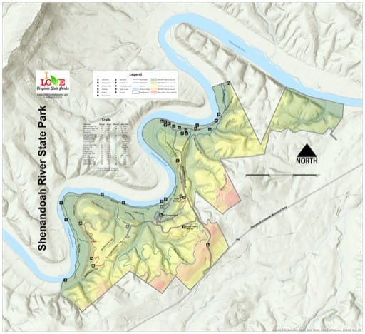 Visitor Map of Shenandoah River State Park (SP) in Virginia. Published by Virginia State Parks.