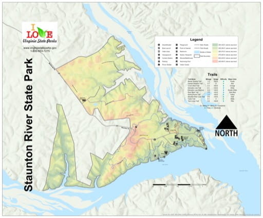 Visitor Map of Smith Mountain Lake State Park (SP) in Virginia. Published by Virginia State Parks.