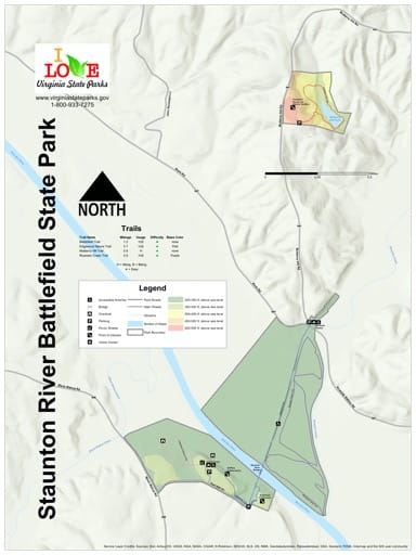 Visitor Map of Staunton River Battlefield State Park (SP) in Virginia. Published by Virginia State Parks.