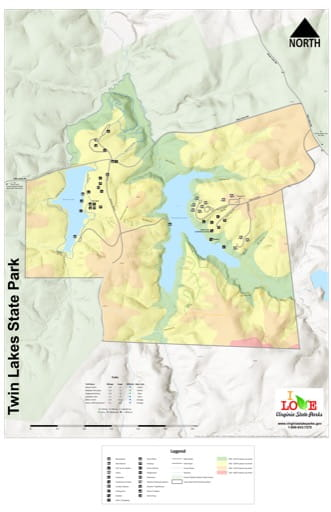 Visitor Map of Twin Lakes State Park (SP) in Virginia. Published by Virginia State Parks.