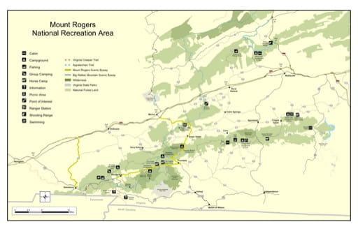 Visitor Map of Mount Rogers National Recreation Area (NRA) in Virginia. Published by the U.S. Forest Service (USFS).
