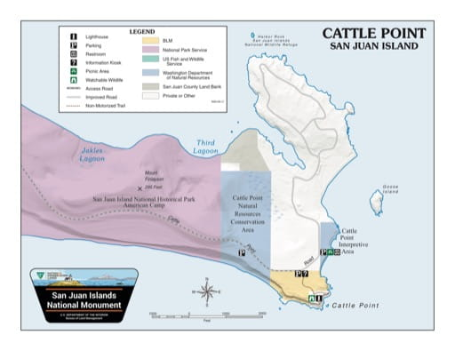 Map of Cattle Point in San Juan Islands National Monument (NM). Published by the Bureau of Land Management (BLM).