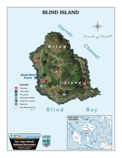 Map of Blind Island in San Juan Islands National Monument (NM). Published by the Bureau of Land Management (BLM).