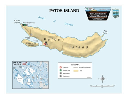 Map of Patos Island in San Juan Islands National Monument (NM). Published by the Bureau of Land Management (BLM).