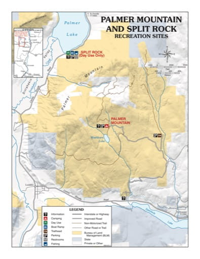 Map of Palmer Mountain and Split Rock Recreation Sites (RS). Published by the Bureau of Land Management (BLM).