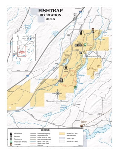 Map of Fishtrap Recreation Area (RA) in the Spokane District Office area. Published by the Bureau of Land Management (BLM).