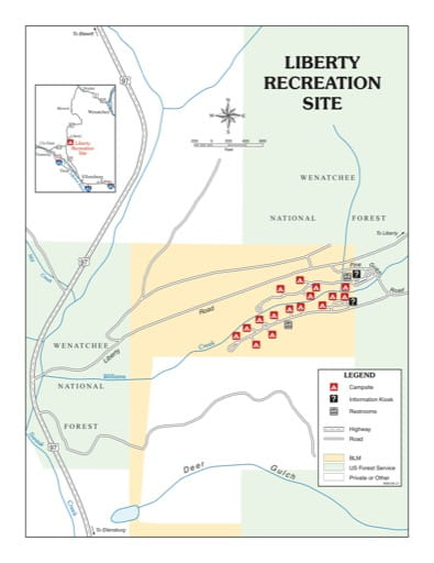 Map of Liberty Recreation Site (RS) in the Spokane District Office area. Published by the Bureau of Land Management (BLM).