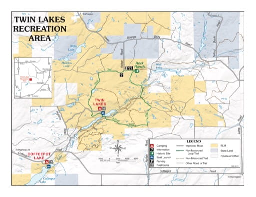 Map of Twin Lakes Recreation Area (RA) in the Spokane District Office area. Published by the Bureau of Land Management (BLM).