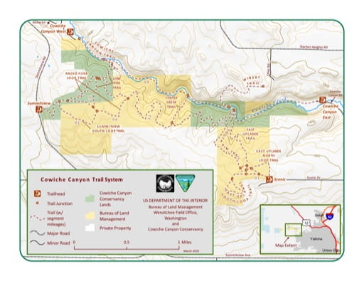 Map of the Cowiche Canyon Trail System in the Spokane District Office area. Published by the Bureau of Land Management (BLM).