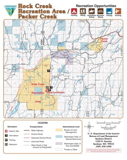 Map of Rock Creek Recreation Area (RA) in the BLM Spokane District area. Published by the Bureau of Land Management (BLM).
