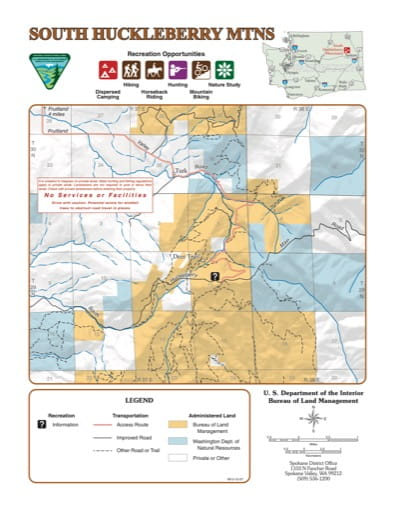 Recreation Map of South Huckleberry Mountains in the BLM Spokane District area. Published by the Bureau of Land Management (BLM).