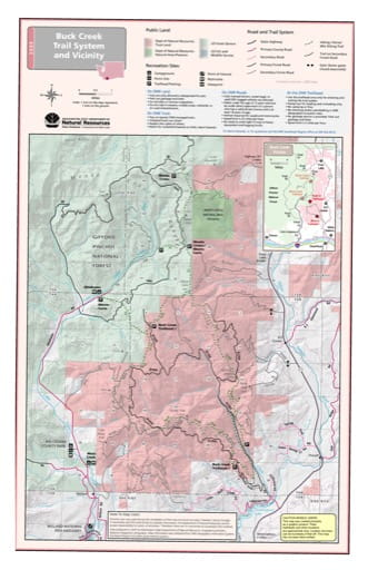 Map of Buck Creek Trail System and Vicinity near Ahtanum State Forest. Published by Washington State Department of Natural Resources (WSDNR).