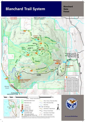 Map of Blanchard Trail System in Blanchard State Forest. Published by Washington State Department of Natural Resources (WSDNR).