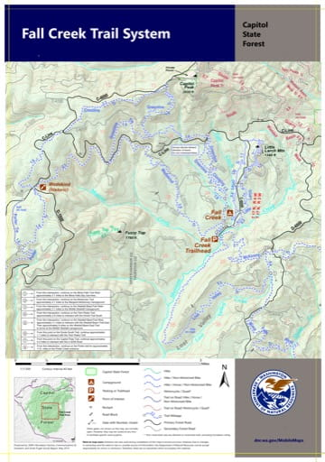 Map of Fall Creek Trail System in Capitol State Forest. Published by Washington State Department of Natural Resources (WSDNR).