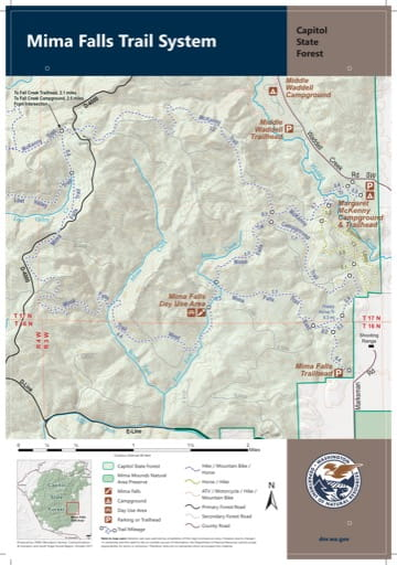 Map of Mima Falls Trail System in Capitol State Forest. Published by Washington State Department of Natural Resources (WSDNR).