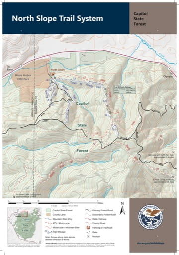 Map of North Slope Trail System in Capitol State Forest. Published by Washington State Department of Natural Resources (WSDNR).