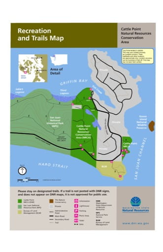 Map of Recreation and Trails for Cattle Point Natural Resources Conservation Area (NRCA). Published by Washington State Department of Natural Resources (WSDNR).
