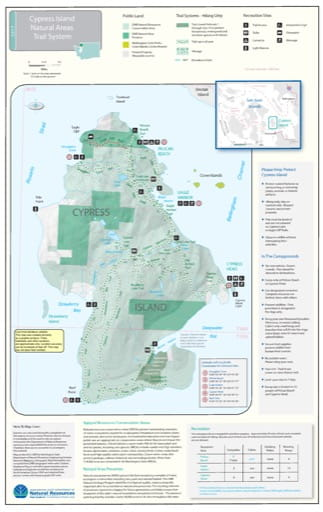 Map of Cypress Island Natural Areas Trail System. Published by Washington State Department of Natural Resources (WSDNR).