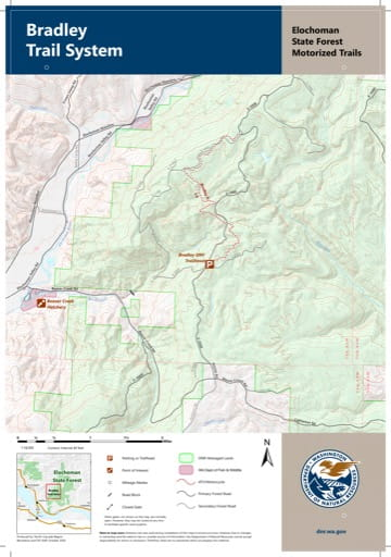 Map of Bradley Motorized Trail System in Elochoman State Forest (SF) in Washington. Published by Washington State Department of Natural Resources (WSDNR).