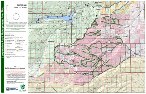 Map of Green Dot Roads in the Ahtaum area. Published by Washington State Department of Natural Resources (WSDNR).