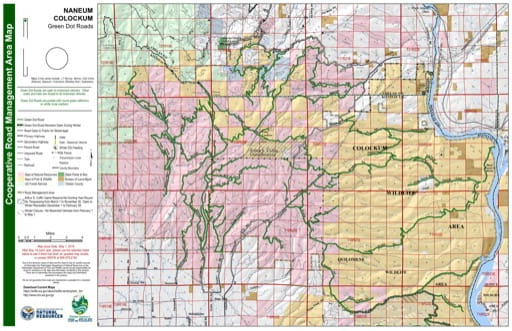 Map of Naneum Ridge State Forest, Colcokum Wildlife Area. Published by Washington State Department of Natural Resources (WSDNR).