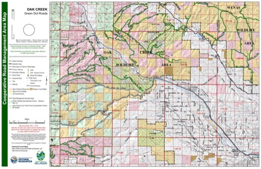 Map of Oak Creek Wildlife Area. Published by Washington State Department of Natural Resources (WSDNR).