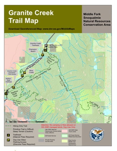 Map of Granite Creek Trail in Middle Fork Snoqualmie Natural Resources Conservation Area (NRCA). Published by Washington State Department of Natural Resources (WSDNR).