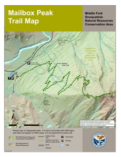 Map of Mailbox Peak Trail in Middle Fork Snoqualmie Natural Resources Conservation Area (NRCA). Published by Washington State Department of Natural Resources (WSDNR).