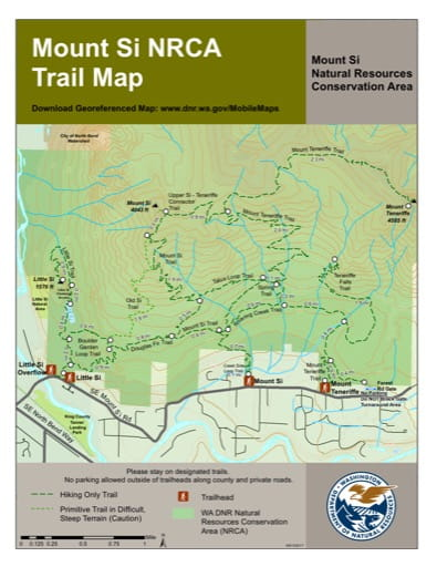 Trails map of Mount Si Natural Resources Conservation Area (NRCA). Published by Washington State Department of Natural Resources (WSDNR).