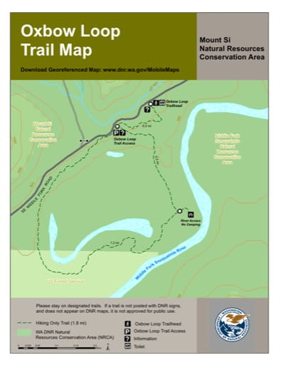 Map of Oxbow Loop Trail in Mount Si Natural Resources Conservation Area (NRCA). Published by Washington State Department of Natural Resources (WSDNR).