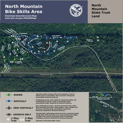 Map of Bike Skills Area in North Mountain State Trust Land (STL). Published by Washington State Department of Natural Resources (WSDNR).