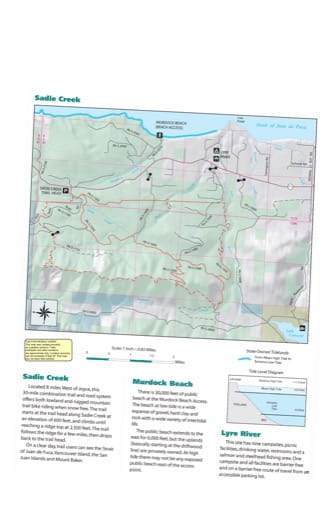 Map of Sadie Creek and Murdock Beach trails in Olympic Peninsula Forests. Published by Washington State Department of Natural Resources (WSDNR).