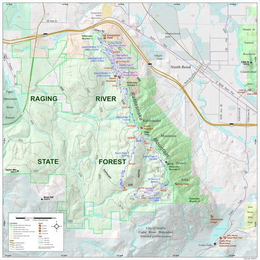 Map of Raging River State Forest (SF). Published by Washington State Department of Natural Resources (WSDNR).