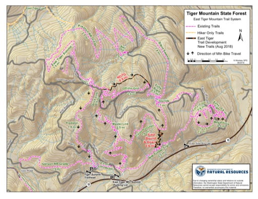 Map of East Tiger Mountain Trail System in Tiger Mountain State Forest (SF). Published by Washington State Department of Natural Resources (WSDNR).