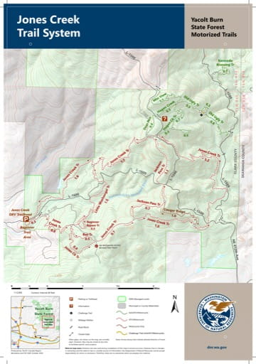 Map of the Jones Creek Motorized Trail System in Yacolt Burn State Forest (SF). Published by Washington State Department of Natural Resources (WSDNR).