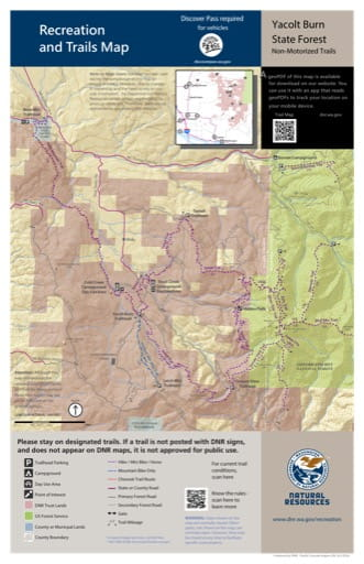 Map of Non-Motorized Trails in Yacolt Burn State Forest (SF). Published by Washington State Department of Natural Resources (WSDNR).
