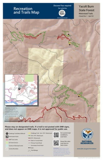 Map of Hagen Creek Motorized Trail System in Yacolt Burn State Forest (SF). Published by Washington State Department of Natural Resources (WSDNR).