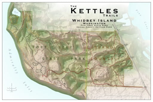 Map of the Kettles Trails and Fort Ebey State Park (SP) on Whidbey Island. Published by the Evergreen Mountain Bike Alliance.
