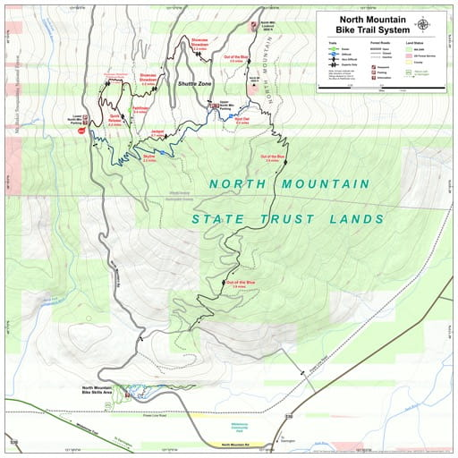 Map of North Mountain Bike Trail System in North Mountain State Trust Lands (STL). Published by the Evergreen Mountain Bike Alliance.